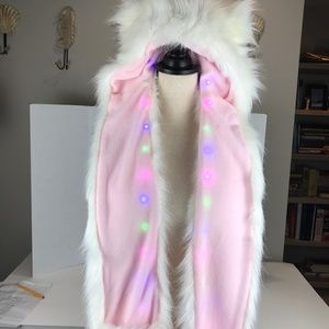 Faux fur white hat with ears, handwarmer pockets